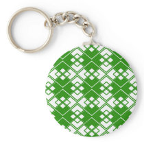 Abstract geometric pattern - green and white. keychain