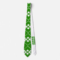 Abstract geometric pattern - green and white. neck tie