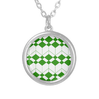 Abstract geometric pattern - green and white. silver plated necklace