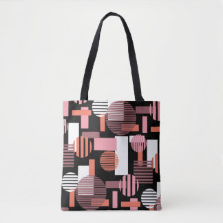 Abstract Geometric Pattern Pink White & Black Tote Bag