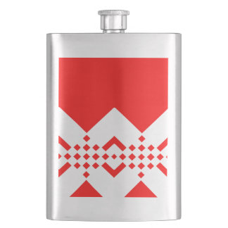 Abstract geometric pattern - red and white. flask