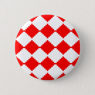 Abstract geometric pattern - red and white. pinback button