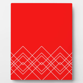 Abstract geometric pattern - red and white. plaque