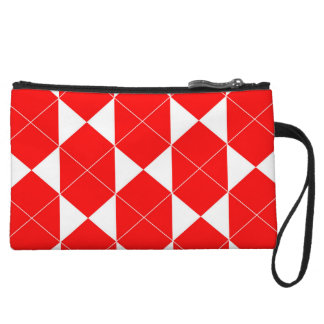 Abstract geometric pattern - red and white. wristlet wallet