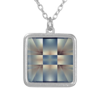Abstract geometric pattern silver plated necklace