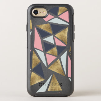 Abstract geometric pink navy blue gold triangles OtterBox symmetry iPhone 7 case