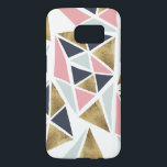 "Abstract geometric pink navy blue gold triangles samsung galaxy s7 case<br><div class=""desc"">A cool,  and modern pastel pink,  navy blue ,  light blue and faux gold foil geometric triangles pattern. The background color is fully customizable</div>"