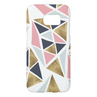 Abstract geometric pink navy blue gold triangles samsung galaxy s7 case
