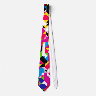 Abstract Geometric Red Pink Blue Colorful Pattern Neck Tie