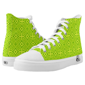 Abstract geometric retro chartreuse yellow pattern High-Top sneakers