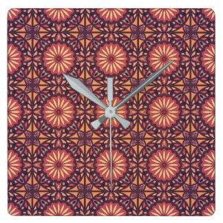 Abstract geometric retro seamless pattern square wall clock