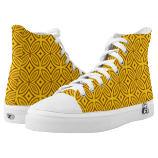 Abstract geometric retro yellow brown tile pattern printed shoes
