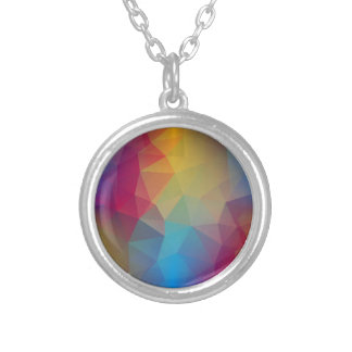 Abstract Geometric Seamless Shapes Colorful Backgr Silver Plated Necklace