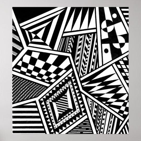 Abstract Geometric Shapes Black White Pattern Hand Poster Zazzlecom