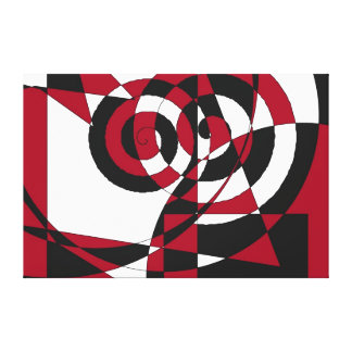 Abstract Geometric Shapes, Swirls-red white black Canvas Print