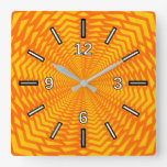 [ Thumbnail: Abstract Geometric Sun-Like Pattern Square Clock ]