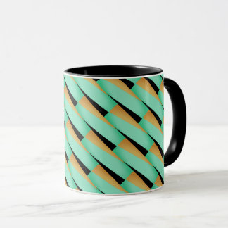 Abstract Geometric/Turquoise Black & Tans Mug