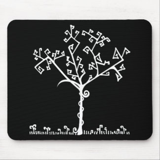 Abstract Geometric White Winter Tree Mousepads