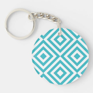 Abstract geometrical squares pattern, aqua white keychain