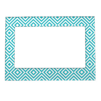 Abstract geometrical squares pattern, aqua white magnetic photo frame
