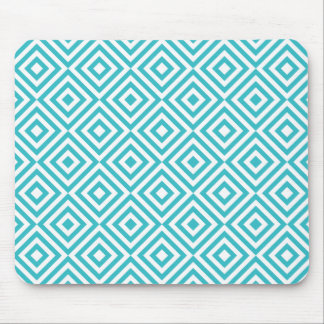 Abstract geometrical squares pattern, aqua white mouse pad