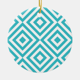 Abstract geometrical squares pattern, aqua white Double-Sided ceramic round christmas ornament