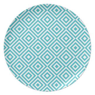 Abstract geometrical squares pattern, aqua white dinner plate