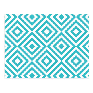 Abstract geometrical squares pattern, aqua white postcards