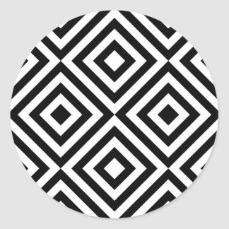 Abstract geometrical squares pattern, black white classic round sticker