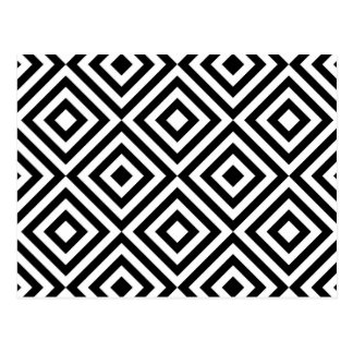 Abstract geometrical squares pattern, black white post cards