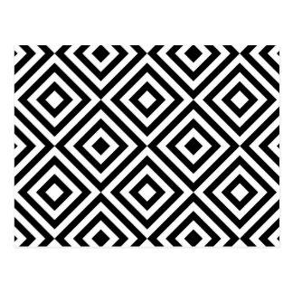 Abstract geometrical squares pattern, black white postcard