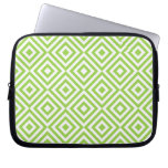 Abstract geometrical squares pattern, lime green laptop sleeve