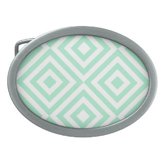 Abstract geometrical squares pattern, mint green belt buckle