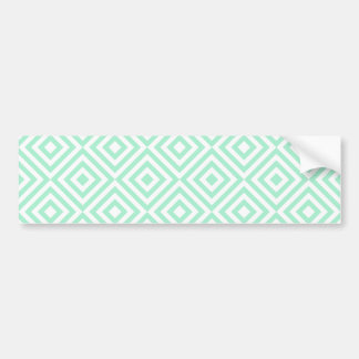 Abstract geometrical squares pattern, mint green bumper sticker