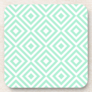 Abstract geometrical squares pattern, mint green coaster