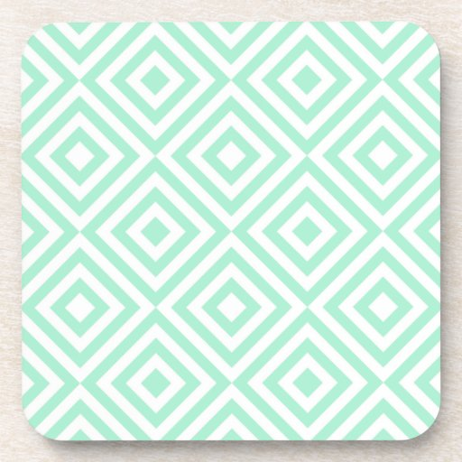 Abstract geometrical squares pattern, mint green beverage coasters