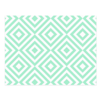 Abstract geometrical squares pattern, mint green postcard