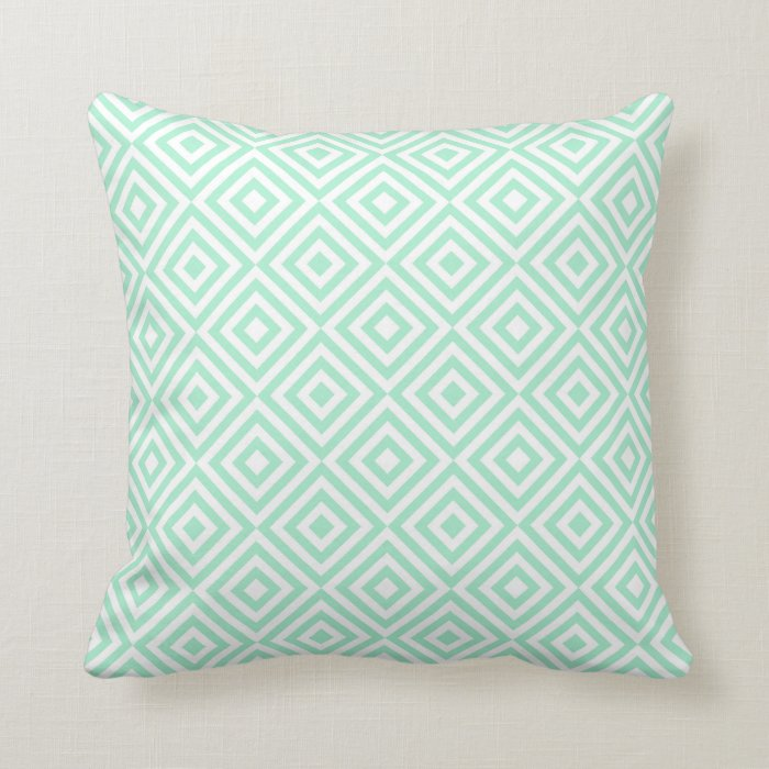 Square Throw Pillow Pattern : Abstract geometrical squares pattern, mint green throw pillow Zazzle