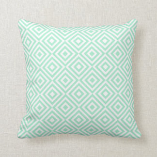 Abstract geometrical squares pattern, mint green throw pillow