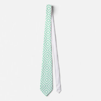 Abstract geometrical squares pattern, mint green tie