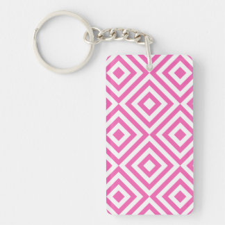 Abstract geometrical squares pattern, pink white keychain