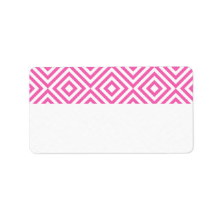 Abstract geometrical squares pattern, pink white personalized address labels