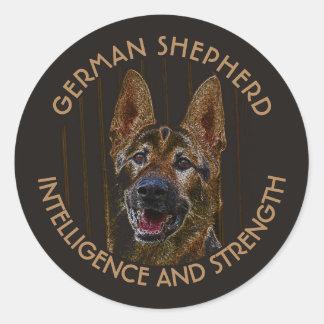 Abstract German Shepherd Dog Classic Round Sticker