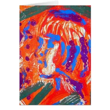 Art Themed Abstract girl screen print image card