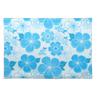 Abstract girly blue flowers place mats