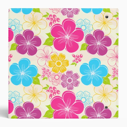 Abstract girly colorful flowers 3 ring binder