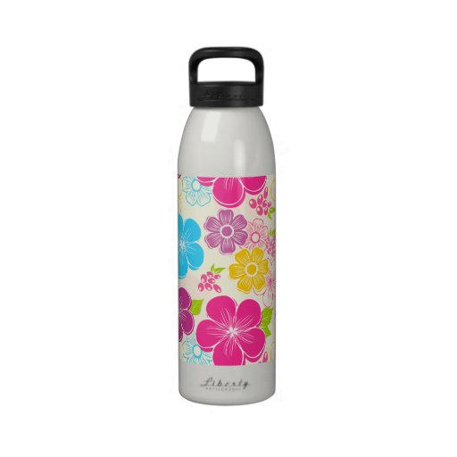 Abstract girly colorful flowers drinking bottles