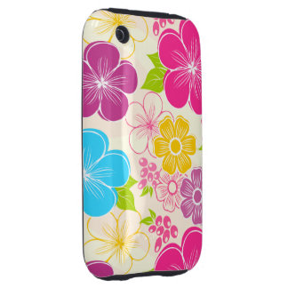 Abstract girly colorful flowers iPhone 3 tough cover