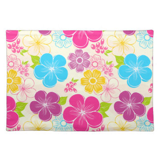 Abstract girly colorful flowers placemat