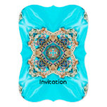 abstract girly Ethnic pattern turquoise bohemian 5x7 Paper Invitation Card